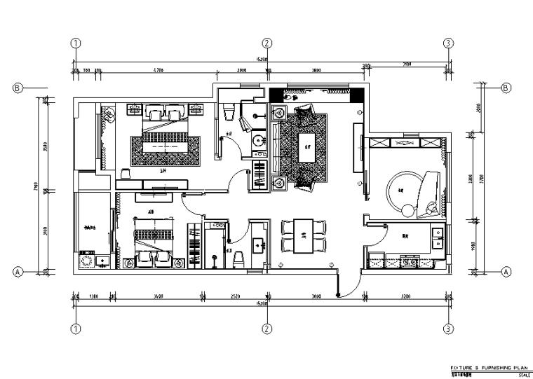 [浙江]良渚新城昆仑华府C1样板间设计施工图(附效果图)