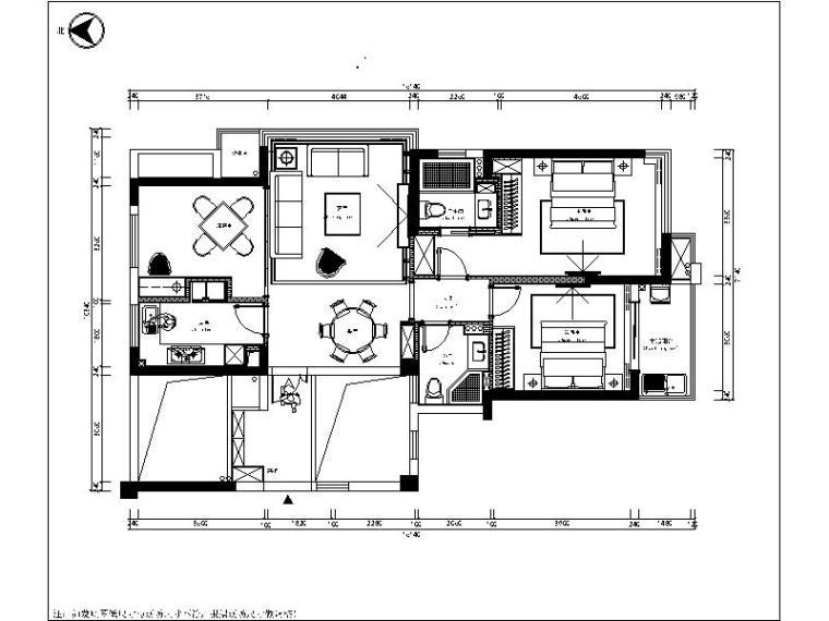 [浙江]新中式两居室设计施工图(含效果图)