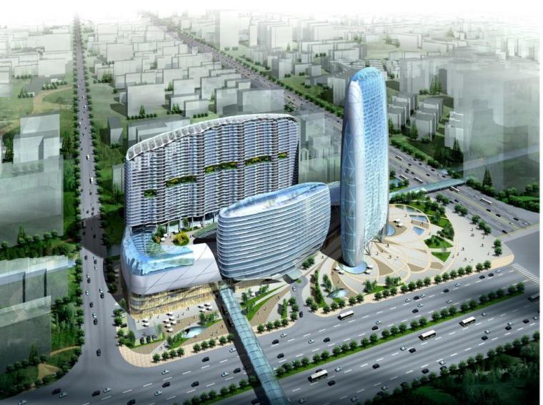 [广州]曲线流线型办公商业综合体建筑设计方案文本