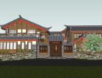 中式风格古镇草居建筑sketchup模型