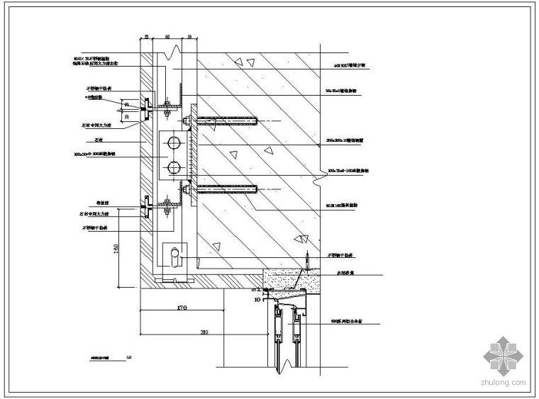 建筑窗收口节点资料下载-某石材与窗上收口节点构造详图