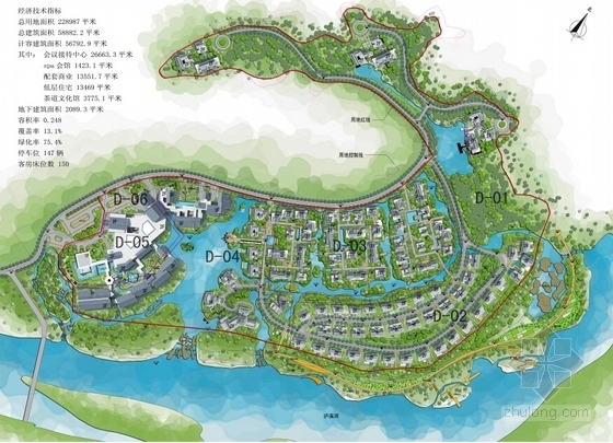 [江西]新中式风格道教养生休闲度假基地规划设计方案文本-新中式风格道教养生休闲度假基地总平面图