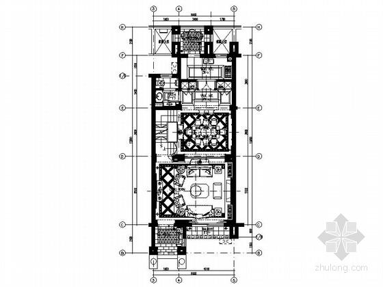 园林布置别墅cad资料下载-[绍兴]法式园林社区联排别墅样板房室内装修施工图
