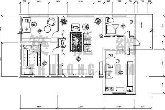 现代家居二室一厅装修布置图