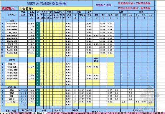 35KV送电线路预(结)算模板(Excel)