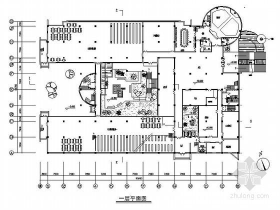 [四川]某大学图书馆平面图