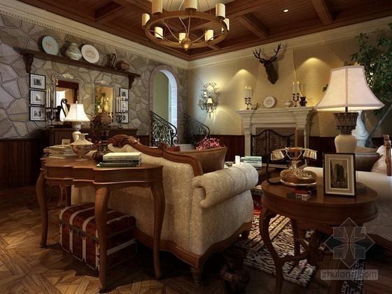 欧式家装起居室3d模型下载