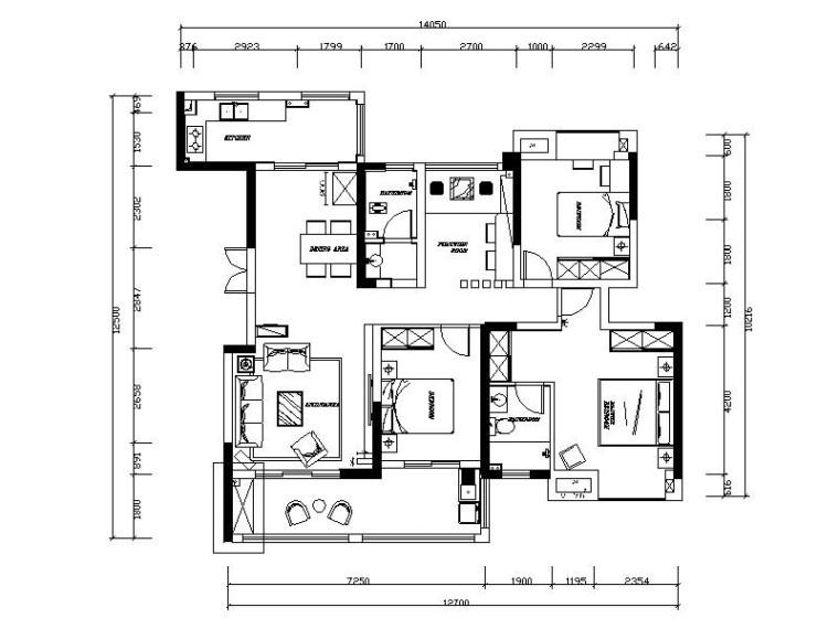 [长沙]现代简约时尚住宅空间室内设计施工图