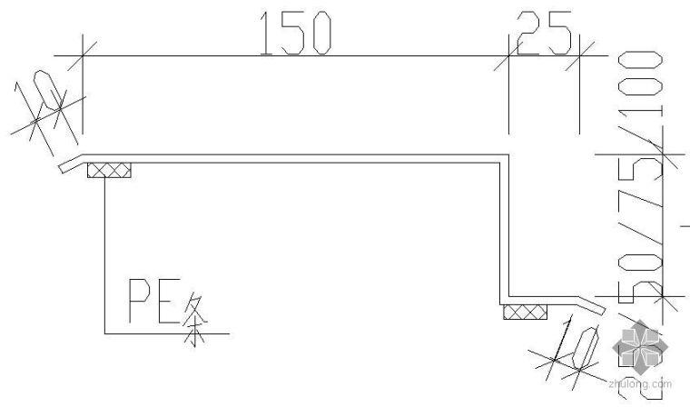 某隔板与天棚板间连接做法节点构造详图(三)