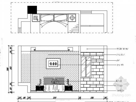 [福建]现代三居室样板房室内设计CAD施工图(含效果)主卧室立面图