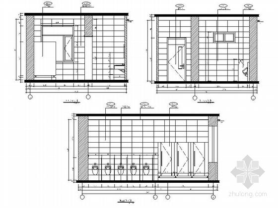 [原创]现代风格小学室内设计装修施工图(含高清效果)卫生间立面图