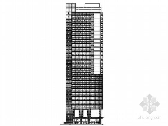 [广州]某二十六层办公楼竖明横隐框玻璃幕墙建筑施工图