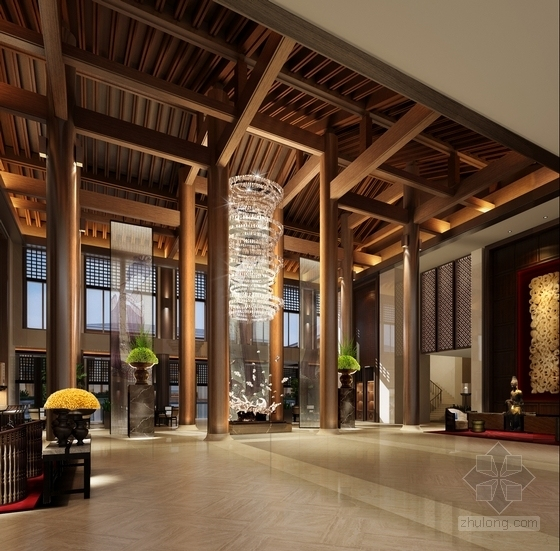 某现代中式五星级酒店大堂设计方案效果图