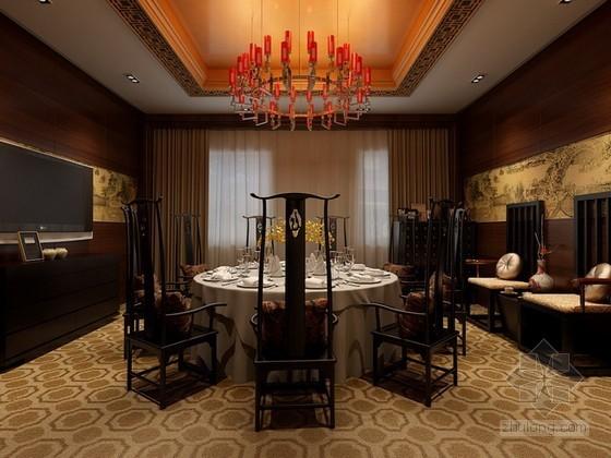 中式餐厅包厢3d模型下载