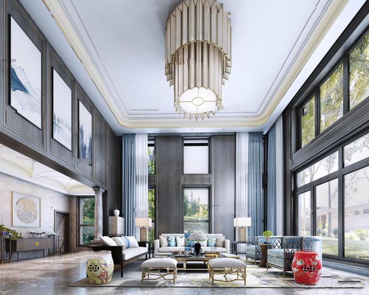 新中式别墅客厅3D模型