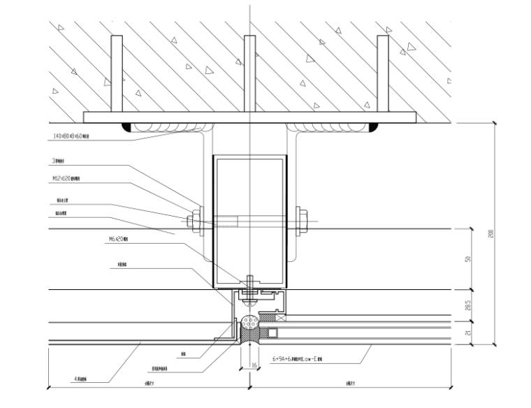 隐框玻璃幕墙横剖节点图