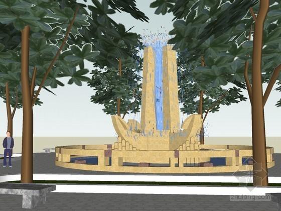 广场喷泉SketchUp模型下载
