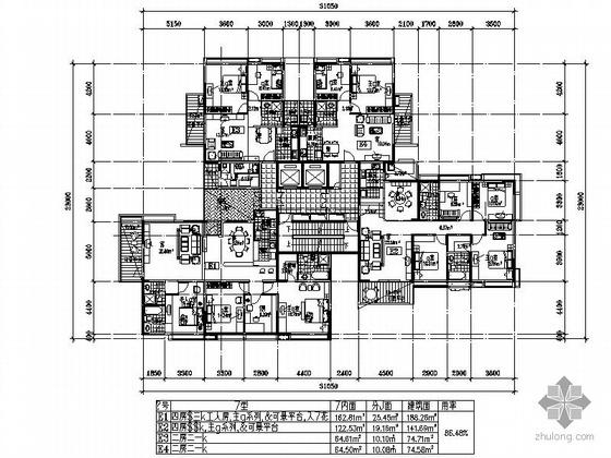 一梯三户户型方案(188/142/75/74)
