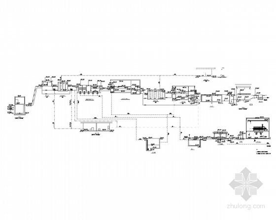 净水厂水力高程图 、工艺流程图