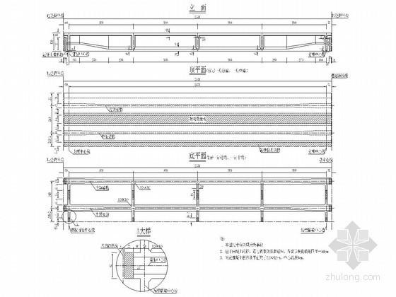 装配式预应力混凝土桥T梁平面及立面图