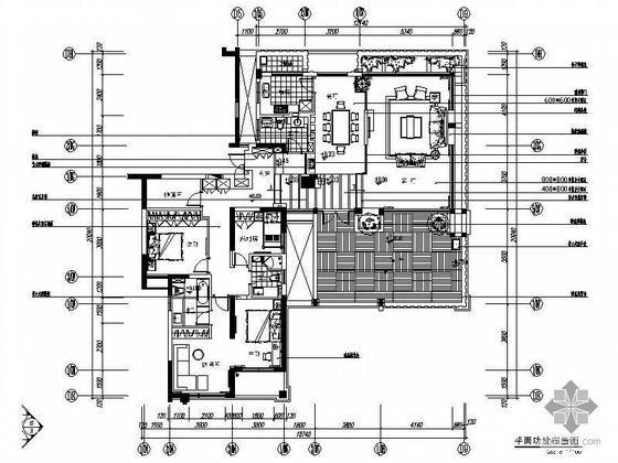 现代三室两厅精装修图(含露台)