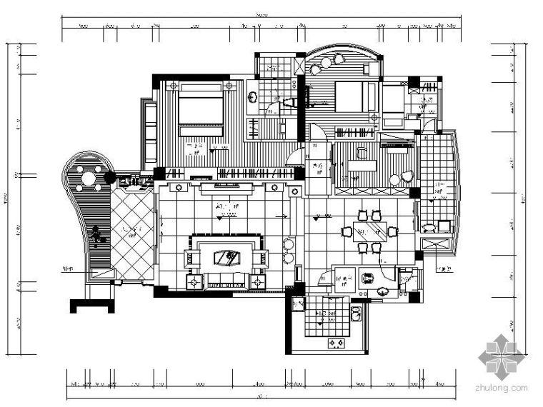现代中式风格三室二厅装修图(含效果)