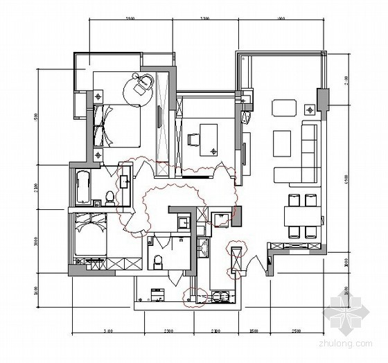 现代时尚三居室内设计方案(含效果)