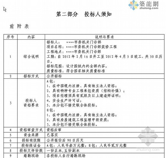 [济南]门诊部装修工程采购招标文件(2011-12)