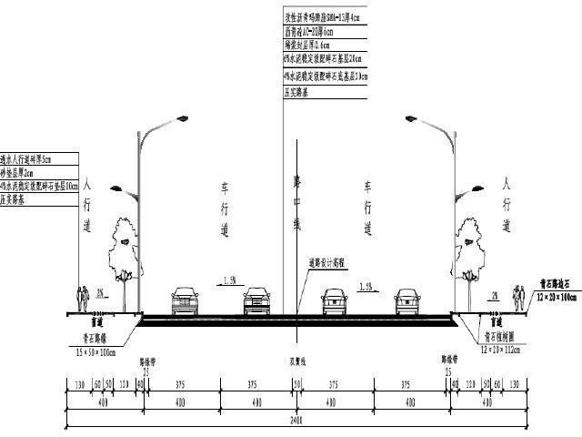 重庆双向4车道城市次干道设计图纸全套116张附概算书75页(交通通信照明排水)
