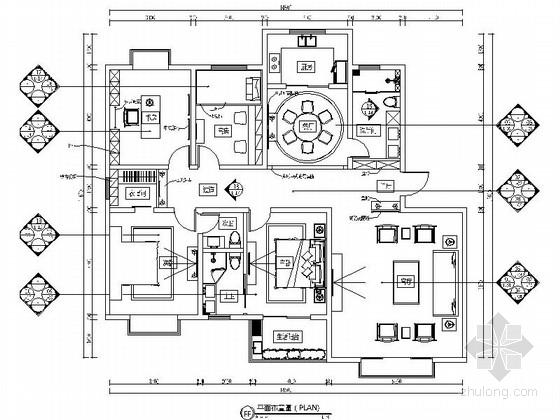 [山西]精品中式风情四室两厅样板间CAD装修施工图(含效果)