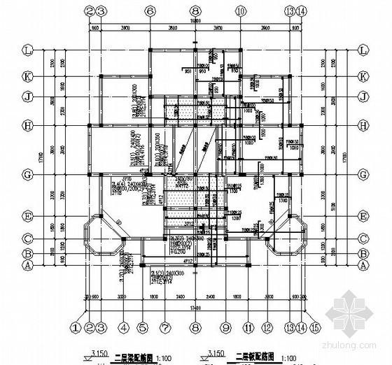 二层砖混结构别墅结构施工图(双拼别墅 条形基础)