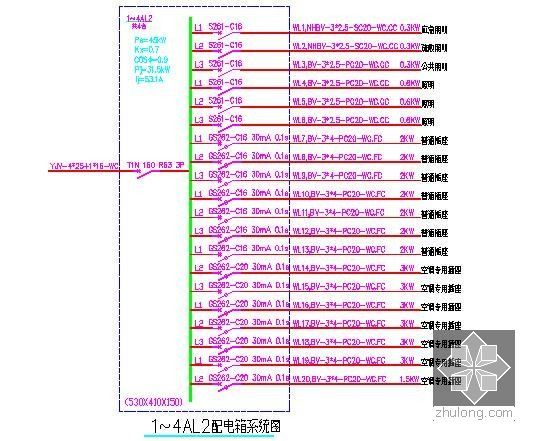 [山东]中学宿舍楼建筑安装工程预算书(附图纸及软件应用)-配电箱系统图