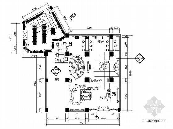 高档红酒庄卖场室内装修施工图