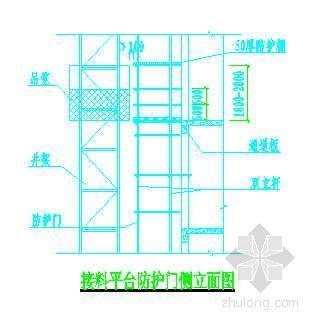 接料平台平面图及防护门立面图