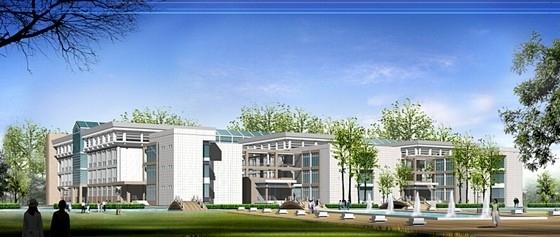 [河南]现代风格校区总图规划设计方案文本-现代风格校区总图规划效果图