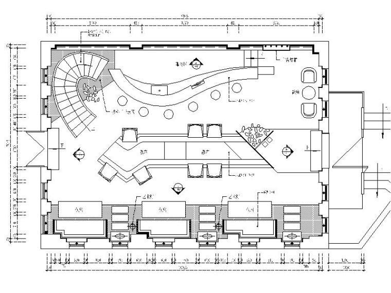 [晋江]特色复古酒吧室内设计CAD施工图(含效果图)