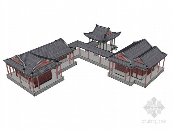 古建廊亭SketchUp模型下载