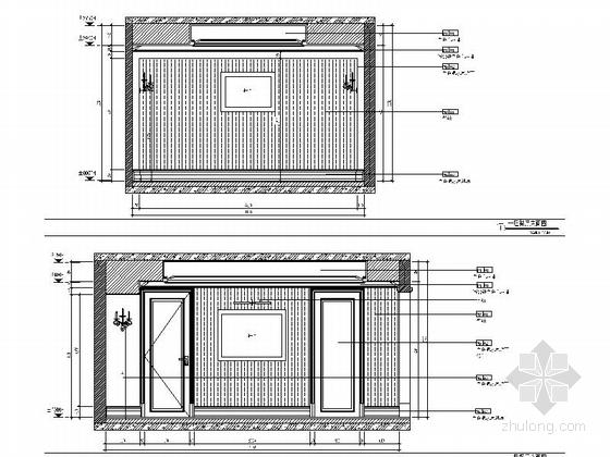 精品现代三层别墅样板间室内装修施工图餐厅立面图