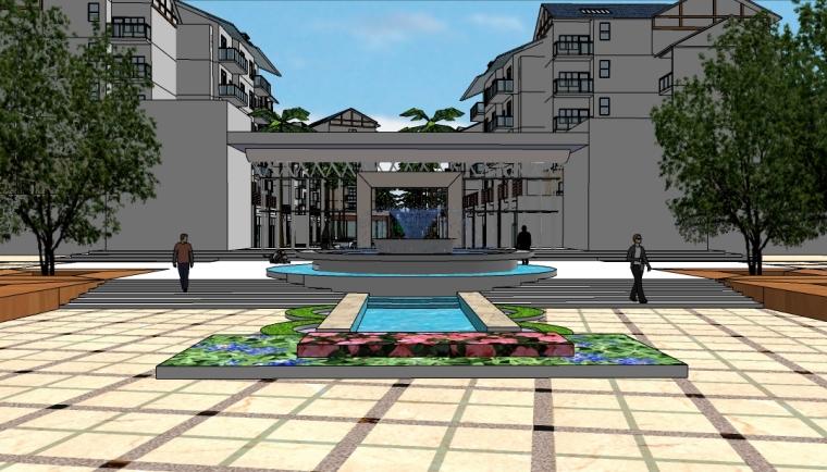 大型小区景观设计SU模型(高层+别墅)
