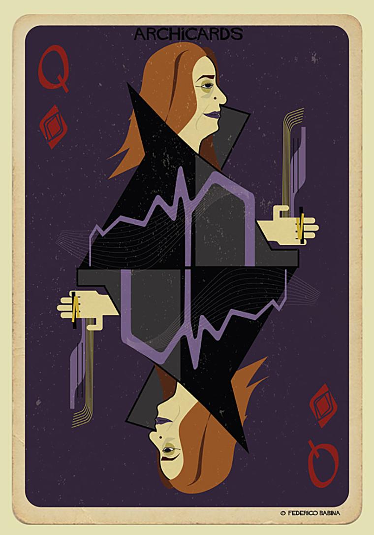 知名建筑大师头像的扑克牌