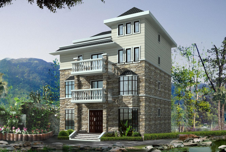三层现代流派建筑别墅设计(包含效果图 cad)