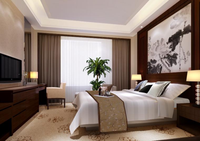 [山东]青岛温泉酒店全套施工图(附效果图)-大床间效果图