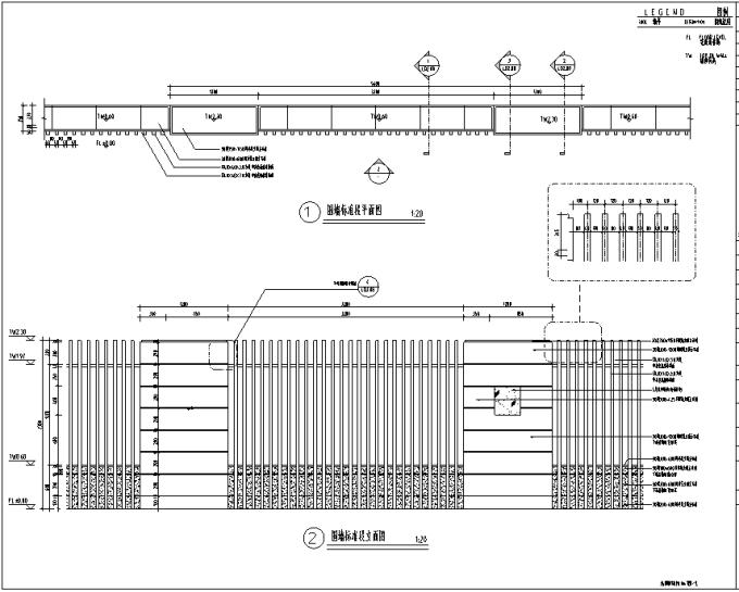[重庆]生态智能交通物联网RFID工程中心环境景观设计全套施工图(2017最新图纸)-围墙标准段设计详图
