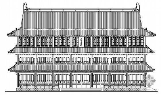 某三层仿古式茶文化楼建筑施工图