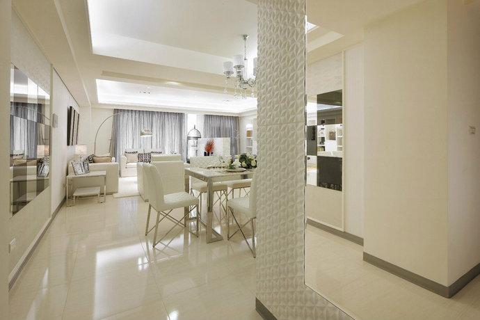 120平白色玄关客厅餐厅厨房书房卧房装修效果图
