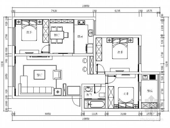 精装三居室样板房室内设计CAD施工图