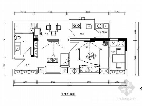 花园洋房简约欧式风格两居室室内装修施工图(含效果)