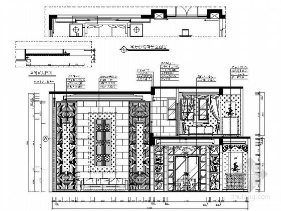 [郑州]北环商圈区典雅新中式三层别墅装修施工图客厅立面图