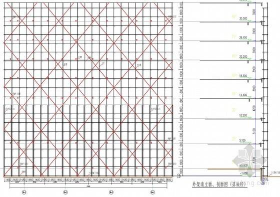 [浙江]办公楼落地式外脚手架及悬挑脚手架施工方案(最高搭设35.5米)
