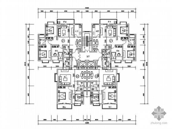 塔式高层一梯四北梯户型图(104/88)